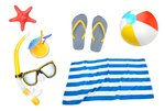 Summer objects collage beach...