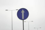 One way highway sign. blue...
