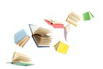 Colorful hardcover books flying ...
